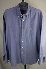 Lyle & Scott Scotland button-front shirt L combed cotton blue marled chambray