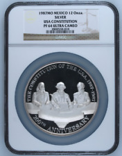 1987Mo Mexico Silver 12oz USA Constitution Medal NGC PF64UC