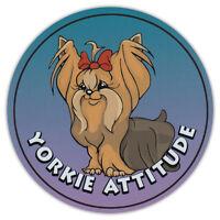 Round Dog Breed Car Magnet - Yorkie Attitude (Yorkshire Terrier) - Sticker