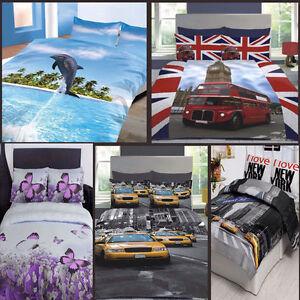 Poly Cotton 3D Design Duvet Quilt Cover Bedding Set with Pillow Cases Beddings
