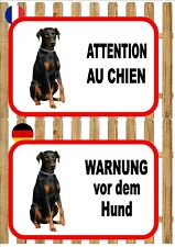 Doberman Pinscher Beware of the Dog Sign ATTENTION AU CHIEN WARNUNG VOR DEM HUND