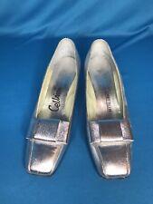 Vintage Mod 1960s Metallic Silver Shoes Cellini Bow Dress Pumps 9.5 Aa Narrow
