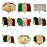 Mexico Latin America Flag Belt Buckle Vintage Silver Metal Rodeo Western Aztec
