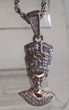 Men's Silver Finish Egyptian Hip-Hop Pendant with  Chain