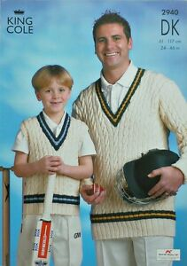 KNITTING PATTERN Mens/Boys Sleeveless/Long Sleeve V-Neck Cricket Jumper DK 2940