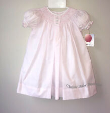 NWT Petit Ami Pink Smocked Bishop Baby Dress Daygown Oval Embroidery Newborn