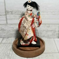 "Vintage Japanese 5"" Maiko Doll In Glass Dome Case Dancer Geisha Japan Oriental"