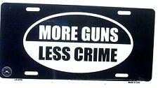 Novelty Patriotic license plate.  More guns Less Crime New aluminum auto tag car
