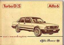 Libretto uso manutenzione Alfa 6 turbo diesel D 5