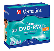 5 DISCOS VERBATIM 8 CM 2 X MINI DVD-RW PACK DVDS 43514 1.4 GB SLIM JEWEL CASE