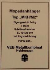 Typenschild für Simson Mopedanhänger / Transporthänger MKH/M2 , Typenaufkleber
