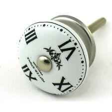 4 Clock Face Ceramic Knobs Watchface Cabinet Drawer Pulls Furniture Handle #K37