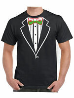 Tuxedo T Shirt Welsh Flag Bow Tie Wales Dragon of CADWALADR Hen Stag Fancy Dress