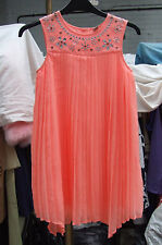 BNWOT Beautiful  Diamante Studded Pleated Coral Colour Girl's Party Dress Age 9