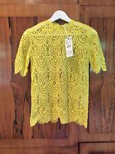 Zara Yellow Cotton Lace Top Blouse, Size M-BNWT