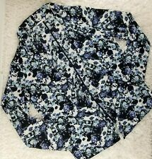 Lush blue black watercolor open front flowy cardigan blouse SIZE M collared (M)