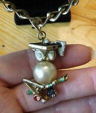Vintage Faux Pearl Enamel OWL w/Graduation Cap Charm Bracelet
