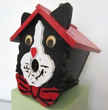 Whimsical Handmade Folk Art Red & Black Kitty Cat Googly Eyes Bird House