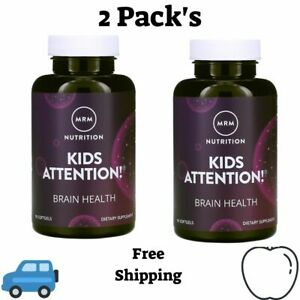 2 Pack's MRM, Kids Attention! Brain Health, 90 Softgels Certified Vegan