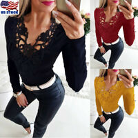 Women's Sexy V Neck Casual Tops Blouse Ladies Slim Long Sleeve T-Shirt Tunic Top