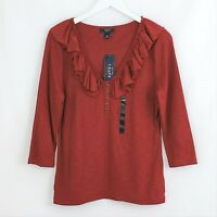 Ralph Lauren CHAPS sz Large Red Ruffled 3/4 Sleeve Henley Pullover Top Blouse