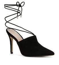 09924be90 Aldo Carolina 91 Black Suede Heel Stiletto Mules Leather Ankle Tie Size 6.5