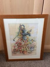 Large Framed Cross Stitch Flowers Around An Old fashioned Water Pump