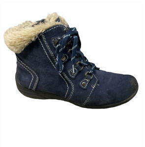 EARTH ORIGINS By Earth Crowley Ankle Boots Suede Leather Faux Fur Women's 9.5