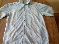 Tommy Bahama Mens Hawaiian Shirt Size Medium Original 100% Silk Blue flowers
