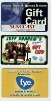 FYE / Suncoast Gift Card LOT of 3 Christmas, Spanish - 2006 2007 2009 - No Value