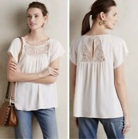 Anthropologie Maeve Lace Trace Blouse Cream Ivory Top Size 2 Short Sleeve