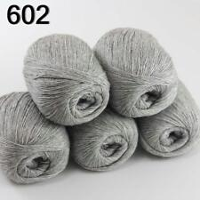 5ballsX50g luxurious Pure 100% Cashmere Hand Knitting Yarn 233-602 Silver Grey
