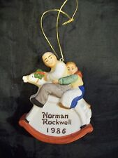 1986 Norman Rockwell Ornament Saturday Evening Post Grandpa And Rocking Horse
