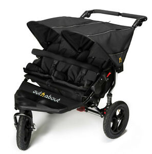Out'n'About Nipper Double V4  Pushchairs Double Seat Stroller - Raven Black