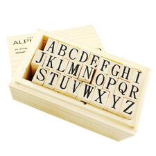 Wooden Uppercase Alphabet Rubber Stamp Kit Letter Set Stamps Wedding Christmas