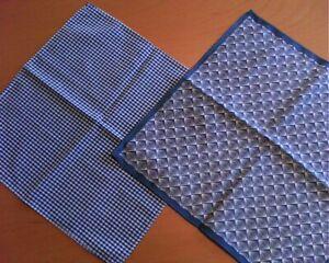 2 x TOPMAN Pocket Square Lads Mens Blue White Gingham + Geometric * RARE*