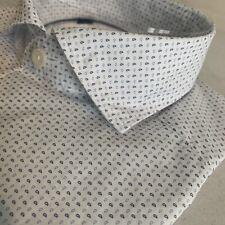 NWT ETON Slim Casual Spread Collar Shirt - White Water Print, Size Small/15