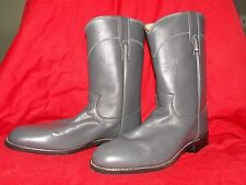 New Smooth Grey Leather Western Style Boots by Justin, Usa Made Men's Size 9B