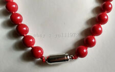 10MM Red Coral Round Beads Necklace 18 inch Magnet Clasp AAA