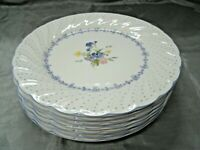 "Vtg Nikko BLUE PEONY Set of 5-7 7/8"" Salad Plates Floral Dots Disc'd Japan EC"