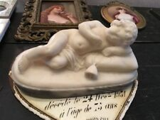 LOVELY ANTIQUE ALABASTER STATUE OF CHILD LYING DOWN SLEEPING SIGNED