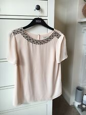 Oasis Nude Embellished Top Size 8