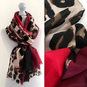 Ladies Large Leopard Print Scarf Red Burgundy Animal Block Big Long Shawl Wrap