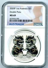 2020 P $1 Australia .9999 1Oz Silver Ngc Ms69 Double Pixiu