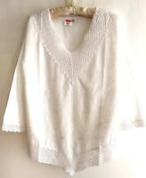 WHITE cotton Embroidered Hippy Boho summer largen TUNIC TOP blouse  M L XL XXL