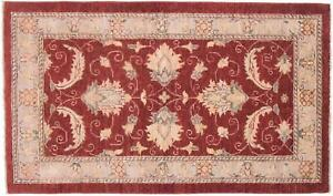 Afghan Chobi Ziegler Carpet Hand Knotted 90x150 Red Floral Pattern Wool
