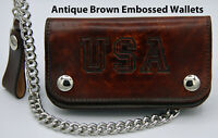 "Leather Chain Wallet Brown Bi-Fold Biker Trucker 6"" USA Made  Men's AB412"