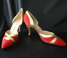 MANOLO BLAHNIK Red Suede & Gold Leather D'Orsay Pump 38.5