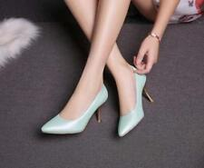 Women's Pointy Toe High Heel Court PU Leather Stiletto prom Shoes plus sz Pumps