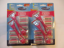 2 PACK NOXZEMA REPLENISH 4 BLADE RAZOR - 4 HANDLES + 18 REFILL CARTRIDGES SL 1